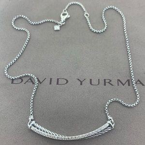 David Yurman Crossover Bar Necklace with Diamonds